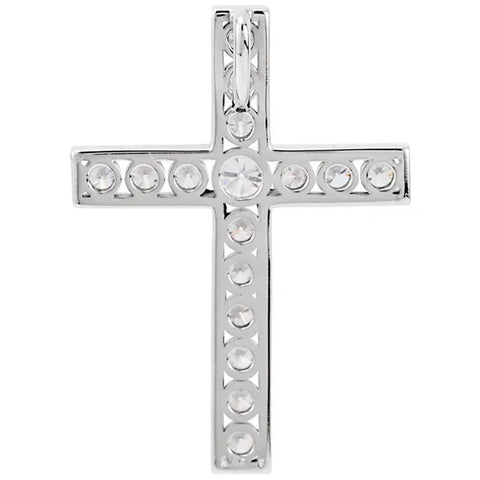 "1 1/2 Ct Diamond Cross Pendant Necklace 18"" 10k White Gold 32mm Tall"