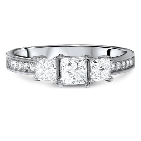 1 1/2ct Three Stone Princess Cut Diamond Engagement Ring 14K White Gold