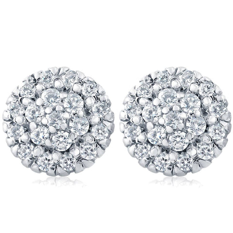 1ct Pave Fire Diamond Studs 14K White Gold