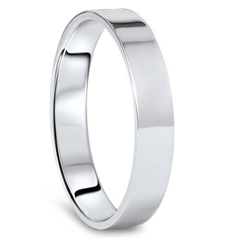 4mm Flat High Polished Wedding Band 10K White Gold