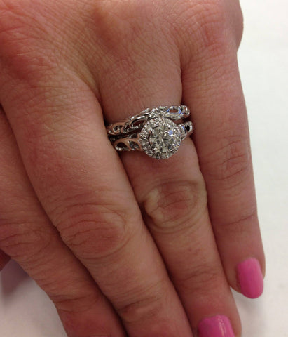 5/8cttw Halo Diamond Vintage Engagement Wedding Ring Set 14k White Gold Filigree