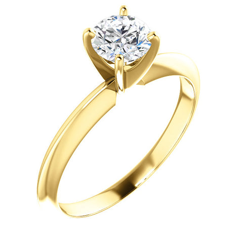 1/2 Ct Lab Grown Diamond Solitaire Engagement Ring 14k White Rose or Yellow Gold