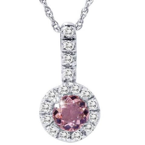 1 1/2ct Pink Tourmaline & Diamond Pendant 14K White Gold