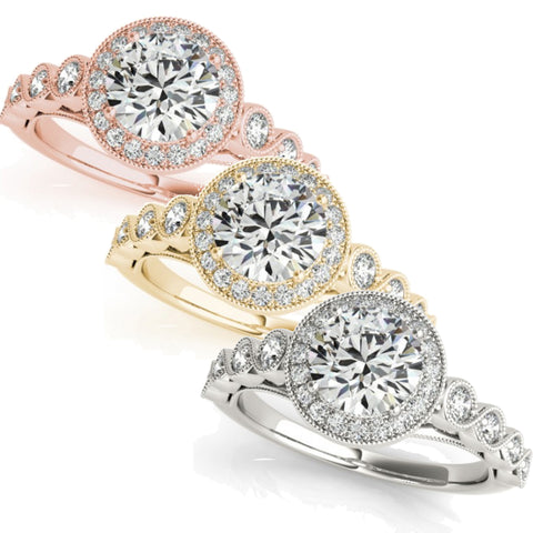 1 3/4ct Halo Diamond Engagement Ring White, Yellow, or Rose Gold Enhanc