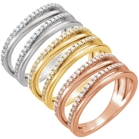 1/4ct Diamond Multirow Ring Available in 14k White, Yellow or Rose Gold