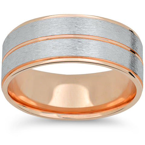 14k Rose Gold & White Gold 6mm 2 Tone Wedding Band Mens Brushed Hand Carved Ring