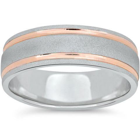 14k Rose Gold & White Gold 7mm 2 Tone Wedding Band Mens Brushed 2 Line Ring