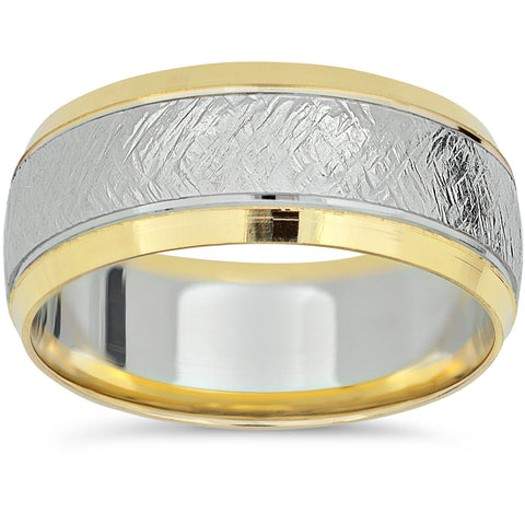 14k Yellow Gold Two Tone Wedding Band Mens 8mm White Gold Handmade Ring