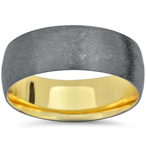 14k Black and Yellow Gold 2 Tone Wedding Band Mens Brushed Handmade Ring