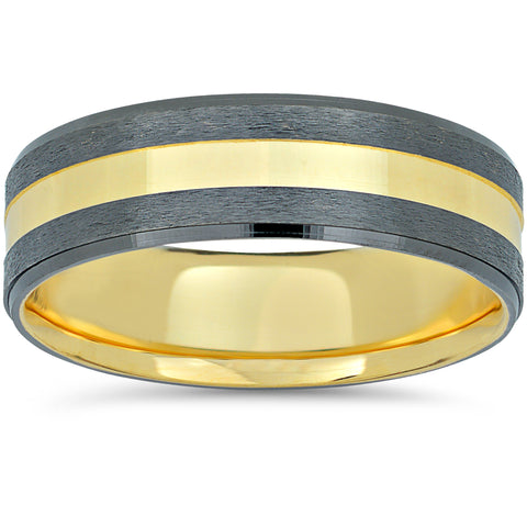 10k Black and Yellow Gold Two Tone Wedding Band Mens Brushed Handmade Ring 6mm