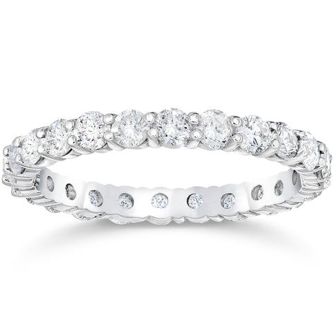 1 1/2 Ct Diamond Eternity Wedding Ring 14k White Gold