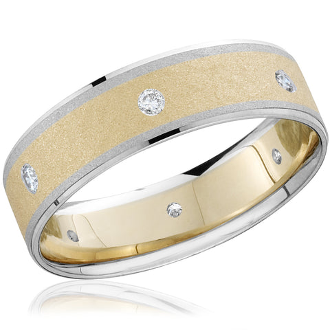 Mens Diamond 14k Yellow & White Gold Two Tone Wedding Ring Brushed Band