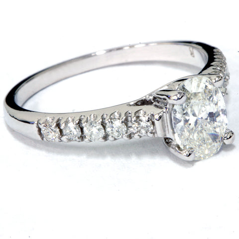 1 1/6ct Oval Diamond Engagement Ring 14K White Gold