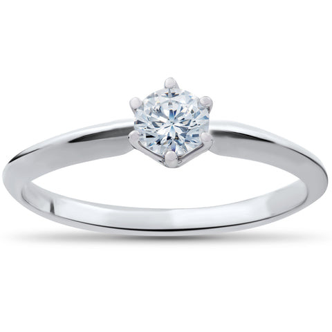Solitaire Diamond Engagement Ring 1/4ct 14k White Gold Round Brilliant Cut