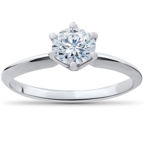 .90 ct Diamond Solitaire Engagement Ring 14k White Gold Round Brilliant Cut