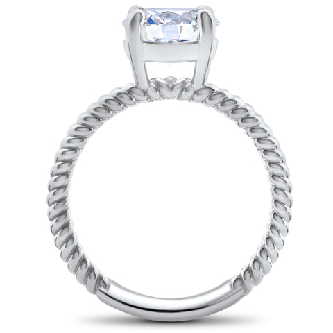 1 1/2 ct Solitaire Diamond Engagement Ring 14K White Gold Enhanced