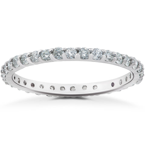 1 1/2ct Round Halo Lab Grown Diamond Engagement Ring & Matching Eternity Band 14k