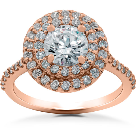 1 ct Double Halo Diamond Lab Created Engagement Ring 14k Rose Gold