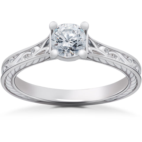 1/2ct Eco Friendly Lab Grown Vintage Scroll Solitaire Sophia Engagement Ring 14k