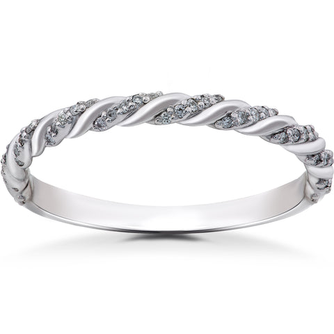 14K White 1/8 CTW Lab Grown Diamond Pavé Twisted Band Womens Wedding Ring