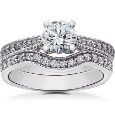 1/3 ct Diamond Angelica Vintage Engagement Ring Setting & Matching Wedding Band