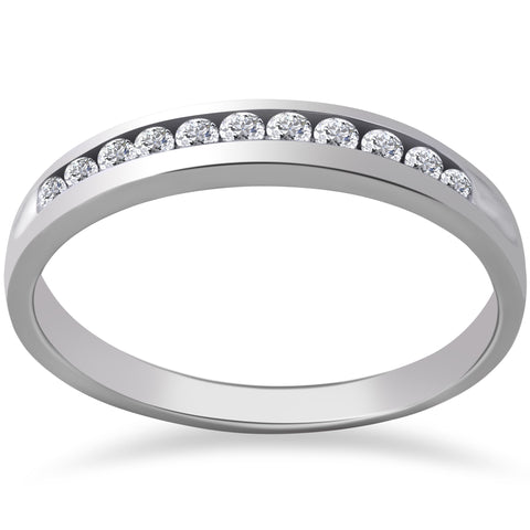 G-SI 1/4 ct Lab Grown Diamond Channel Set Womens Wedding Ring 14k White Gold