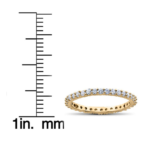 G/VS 1 ct Diamond Eternity Ring Womens Stackable Wedding Band 18K Yellow Gold