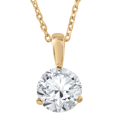 GSI 1 1/2 ct Solitaire Lab Grown Diamond Pendant available in 14K and Platinum