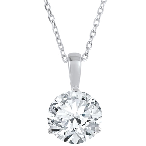 G/SI1 1 ct Solitaire 100% Diamond Pendant in 14K Gold or Platinum Lab Grown