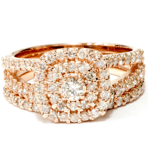 1 1/10ct Diamond Cushion Halo Engagement Wedding Ring Set 10k Rose Gold