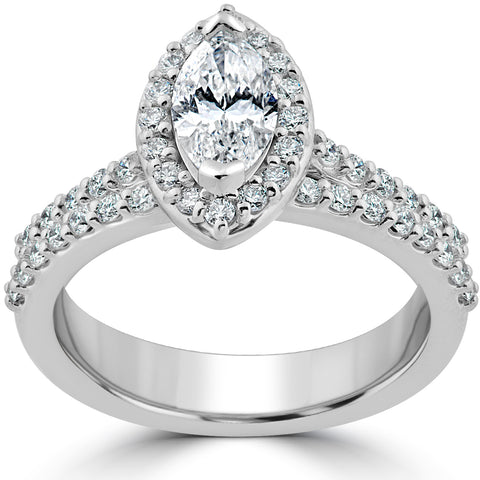1 1/2ct Marquise Halo Diamond Engagement Wedding Ring Set White Gold Enhanced