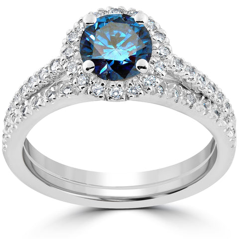 1 1/2 ct Blue Diamond Halo Engagement Wedding Ring Set 14k White Gold Treated