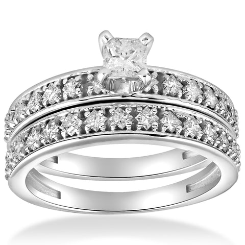 1 cttw Princess Cut Diamond Engagement Wedding Ring Set 10k White Gold