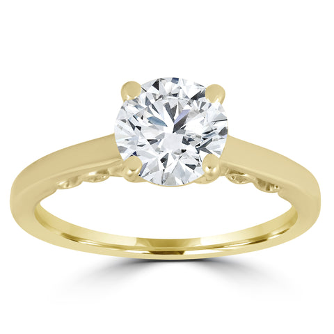 1 ct Diamond Round Brilliant Solitaire Engagement Ring 14k Yellow Gold Enhanced