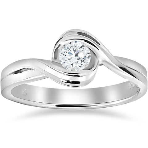 1/2 ct Solitaire Diamond Engagement Ring 14k White Gold Round Cut Jewelry