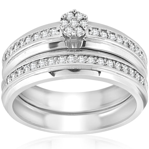 3/8cttw Diamond Engagement Wedding Ring Set 10k White Gold