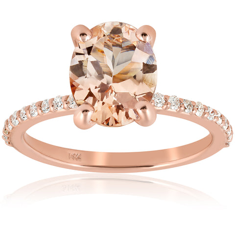 2 1/10 cttw Oval Morganite & Diamond Engagement Ring 14k Rose Gold