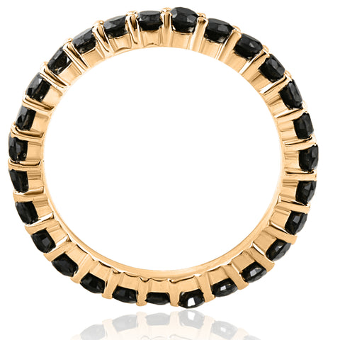 1 1/2ct Black Diamond Eternity Ring 14k Yellow Gold Womens Stackable Band Heated