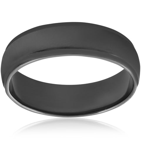 14k Black Gold Mens 6mm High Polished Step Cut Wedding Band