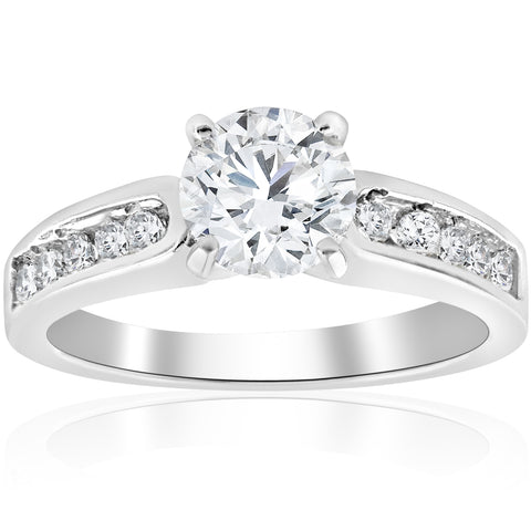 2 ct Diamond Solitaire Engagement Ring 14K White Gold Enhanced Channel Set Women