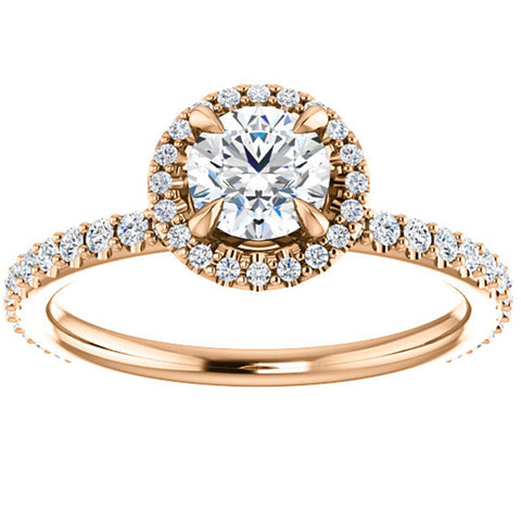 1ct Diamond Halo Vintage Solitaire Round Brilliant Cut Band 14k Rose Gold