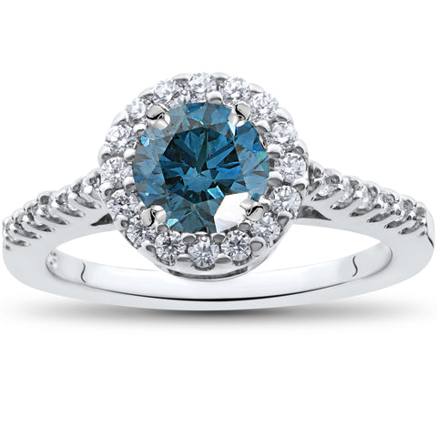1 1/2 ct Blue Diamond Solitaire Engagement Ring Halo 14k White Gold Treated
