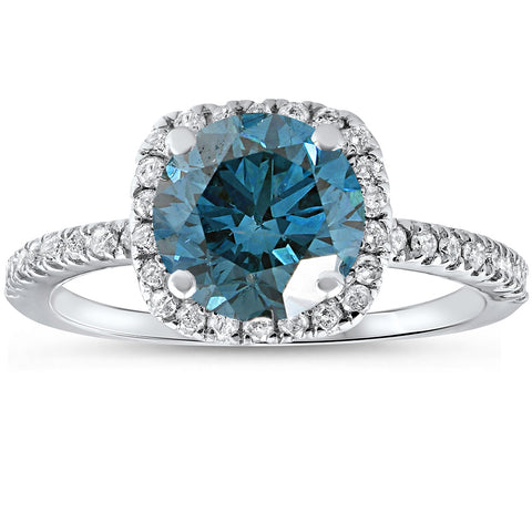 1 3/4 ct Blue Diamond Cushion Halo Engagement Ring 14k White Gold Treated