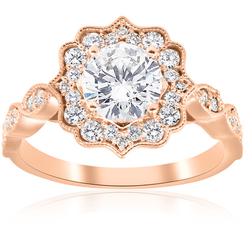 1 1/2 ct Halo Diamond Engagement Ring 14k Rose Gold Filigree Deco Design 1ct ctr