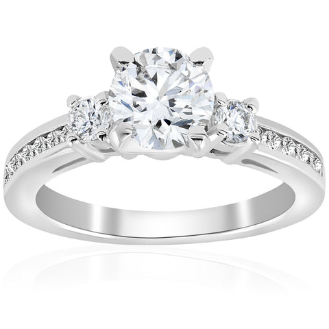 1 ct Diamond Round Cut Solitaire 3 Stone Engagement Ring 14k White Gold Jewelry