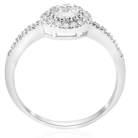 1 1/3ct Diamond Halo Engagement Ring Enhanced 14k White Gold 1ct ctr Solitaire