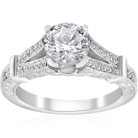 1 3/4 ct Vintage Diamond Engagement Ring 1.5ct center Split Shank 14k White Gold