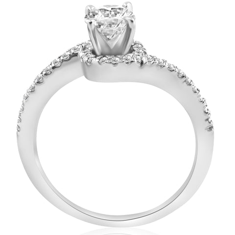 5/8 ct Diamond Engagement Ring Curve Pave Solitaire Jewelry White Gold 14k