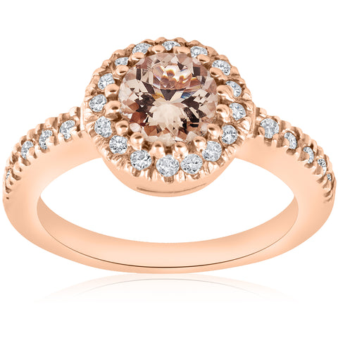 1ct Morganite Halo Diamond Pave Engagement Ring 14k Rose Gold Jewelry Round Cut