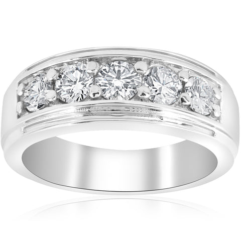 1 ct Mens Diamond Ring Five Stone Wedding Polished Band Jewelry White Gold